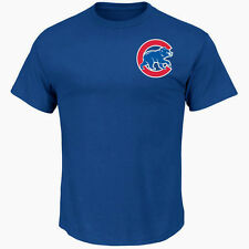 CHICAGO CUBS MLB MAJESTIC AUTHENTIC OFFICIAL LOGO ROYAL BLUE ADULT T-SHIRT NWT