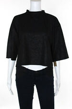 Kersh Black Short Sleeve Crew Neck Cropped Blouse Top Size Large New