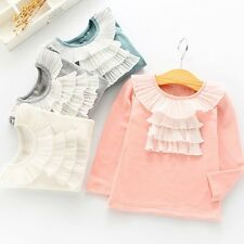 Toddler Kids Baby Girls Lace Cotton Long Sleeve T shirt Tops Tees Clothes Outfit