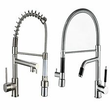 LED Brushed Nickel Kitchen Sink Faucet Pull Down Spray Swivel Spout Mixer Tap