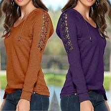 New Womens Long Sleeve Loose Knitted Sweater Ladies Casual Jumper Tops C1MY