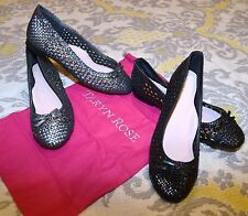 Taryn Rose BOBO black pewter bow woven LEATHER flats shoes 9 9.5 10 M $199.99
