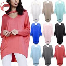LADIES CHOKER NECK DIAMANTE BATWING LOOSE JUMPER WOMENS KNIT OVERSIZED HILO TOP
