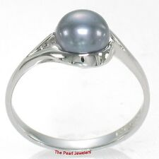Solid Sterling Silver 925 Blue Freshwater Cultured Pearl Solitaire Ring - TPJ