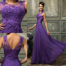 Beaded Chiffon Bridesmaid Evening Gown Cocktail Prom Wedding Party Long Dress