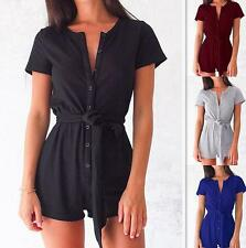 New Fashion Women V Neck Short Sleeve Buttons Jumpsuit Playsuit Rompers Overalls