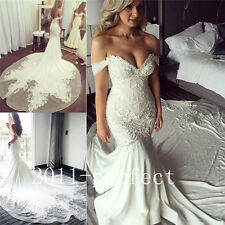 2017 Summer Mermaid Wedding Dresses Lace Embroidery Train Bridal Gowns Custom