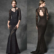 2017 Elegant Black Lace Evening Dresses Formal Mermaid Long Dress Prom Gowns New