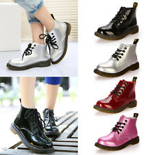 Women Shine Color Lace Up Combat Boots Martin Style Fashion Military Shoes Boots