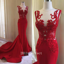 2017 Luxury Embroidery Evening Dresses Sexy Red Mermaid Formal Prom Gowns New