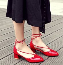 New Roma Fashion Women Patent Leather Flats Strappy Mid Heel Bridal Casual Shoes
