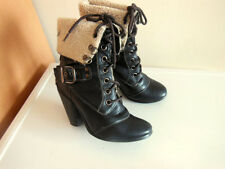 ZONE HIGH HEEL BLACK WARM LINED LACE-UP BOOTS SIZE 4