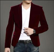 Mens fashion Blazer One Button Slim fit Velvet dress Suit Overcoat Jacket YJQ