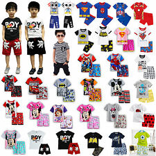 Superhero Mickey Minnie Kids Boy 2Pcs Outfits Clothes Tops T-shirt + Shorts Sets