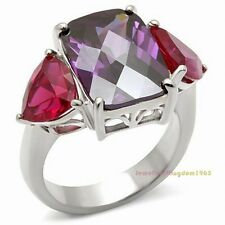 Simulated Amethyst Simulated Ruby Gems Solid 925 Sterling Silver Ring r2399
