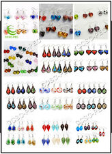 FREE Wholesale Lots 6Pairs Heart Leaf Lampwork Glass Bead Silver Plated Earrings