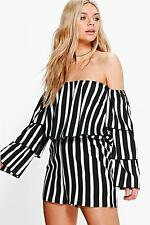 Boohoo Womens Louise Frill Off The Shoulder Playsuit