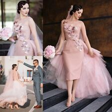 2017 Vintage Pink Wedding Dresses Dots Bridal Gowns With Detachable Train Custom