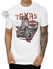 Harley-Davidson Mens Texas State Bike with Flames White Short Sleeve T-Shirt