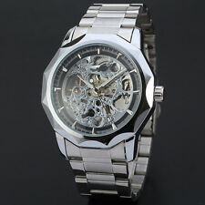 New Black Skeleton Analog Mens Mechanical Automatic Wrist Steel Band Watch
