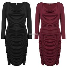 Women Plus Sizes Sexy Cowl Neck Long Sleeve Solid Draped Bodycon Pencil N98B