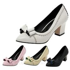 Womens ladies shoes lace Block heeled High Heels Pumps Size 5 6 7 8 9 10 11 12