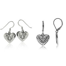 925 Sterling Silver Celtic Knot in Heart Dangle Earrings