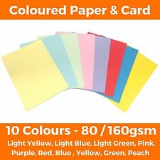 A4 Coloured Craft Paper Card Sheets - Printer Making Copier Paper - 80 / 160gsm