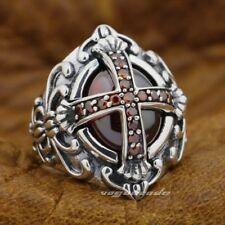 Goth Big Red Red CZ Cross 925 Sterling Silver Gothic Punk Rock Mens Ring 9D005A