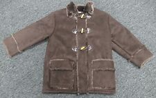 WIDGEON Brown Faux Fur Lined Toggle Button Zip Up Coat With Pockets Sz 6 BB1360