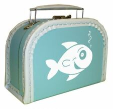 light blue Cardboard suitcase with motif ''Fish""