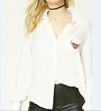 New Womens Embroidered Pocket Long Sleeve Button Down Shirt Blouse Tops