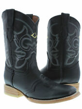 Women's Black Mid Calf Leather Western Cowboy Boots Ankle Short Square