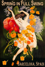 BARCELONA SPAIN SPRING IN FULL SWING GIRL DANCING FLOWERS VINTAGE POSTER REPRO