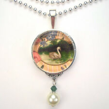 SWAN BIRD 'VINTAGE CHARM' SILVER OR BRONZE ART PENDANT NECKLACE BY CHARMEDWARE