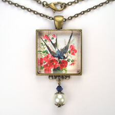 """BARN SWALLOW BLUE BIRD BRONZE OR SILVER PENDANT NECKLACE """"VINTAGE CHARM"""" JEWELRY"""