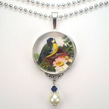 """BIRD on NEST """"VINTAGE CHARM"""" HANDCRAFTED ART SILVER OR BRONZE PENDANT NECKLACE"""