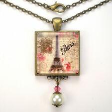 PARIS FRANCE EIFFEL TOWER VINTAGE CHARM FRENCH BRONZE / SILVER PENDANT NECKLACE