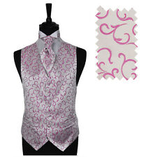 """Men's Pink Scroll Wedding Party Waistcoat - Size 34"""" - 60"""" Choice Cravat or Tie"""