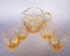 Whitefriars Glass Golden Amber Vertical Ribbed Water Set M2 (Jug and 4 Tumblers)