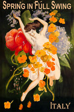 ITALY SPRING IN FULL SWING GIRL DANCING WITH FLOWERS TRAVEL VINTAGE POSTER REPRO
