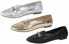 Girls Metallic Ballet Pumps Flat Slip On Ballerinas Loafers Party Shoes Size