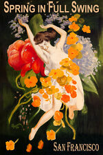 SAN FRANCISCO SPRING FULL SWING GIRL DANCING FLOWERS TRAVEL VINTAGE POSTER REPRO