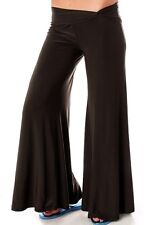 Dark Brown Twisted Hip Wide Flare Hem Gaucho/Palazzo Pants/Slacks S M L
