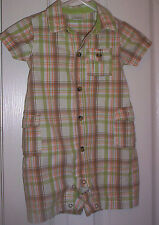 BOYS-GYMBOREE~GREEN COTTON PLAID SHORT SLEEVE ROMPER/KHAKI BUTTON FRONT  S :3-6M