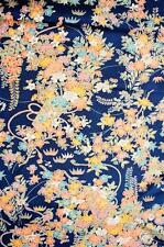 JPI *Blooming Blue*Vintage Japanese Kimono Silk Fabric,patchwork,panel**