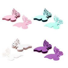 50x Butterfly Cut-out Place Escort Wine Glass Paper Card for Wedding Party Decor