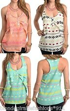 Multi Aztec/Tribal Tiered Overlay Racerback Sleeveless Tank Top S M L