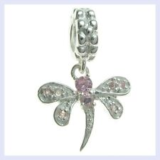 Sterling Silver Dragonfly Crystal Dangle Insect Bead f/ European Charm Bracelet