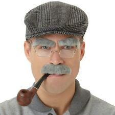 Moustache  Eyebrows Old Man OAP Grey Facial Hair and Pipe option